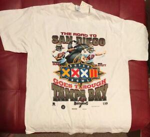 Vintage Tampa Bay Buccaneers 1998 Road To Super Bowl XXXII Dunn Alstott Shirt F3