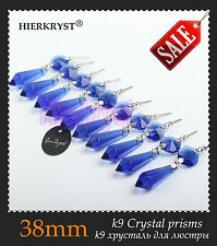 10 Blue Chandelier Glass Crystals Lamp Prisms Parts Hanging Drops Pendants 1.49""