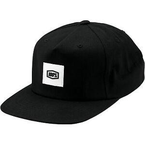 100% Lincoln Snapback Hat Black
