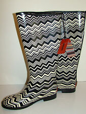 MISSONI for Target Black White Zig Zag Rain Boots 6