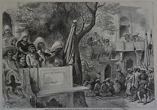 Harper's Weekly, 1876. Waiting for the Shaz-Zadah. Wood Engraving.