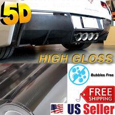 "5D High GLoSSY Premium Carbon Fiber Vinyl Wrap DIY Sticker Film Sheet 120""x60"""