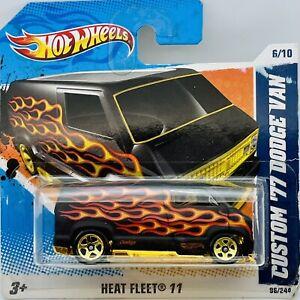 2011 Hot Wheels Black 1977 Custom Dodge Van Heat Fleet Series 6/10 Card # 96/244