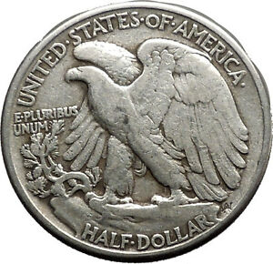1944 WALKING LIBERTY Half Dollar Bald Eagle United States Silver Coin i44675