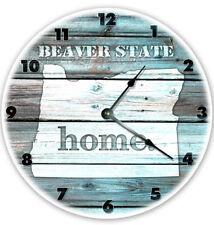 "12"" OREGON TEAL RUSTIC LOOK CLOCK - Large 12 inch Wall Clock - Printed Decal"