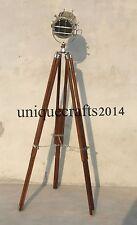 VINTAGE INDUSTRIAL DESIGNER CHROME STUDIO LIGHT TRIPOD FLOOR LAMP MARINE ITEM.