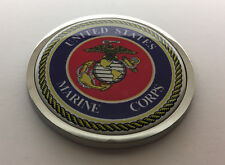 US MARINES USMC 3D Domed Emblem Badge Car Sticker METAL Chrome Bezel 3 3/8""