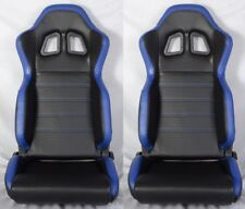 2 X R1 STYLE BLACK & BLUE RACING SEATS RECLINABLE + SLIDER FIT FOR HYUNDAI