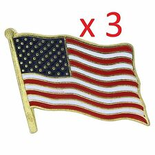 3PK Lapel Pin USA American Waving Flag Badge  Men Women Tie Set Holder US Metal