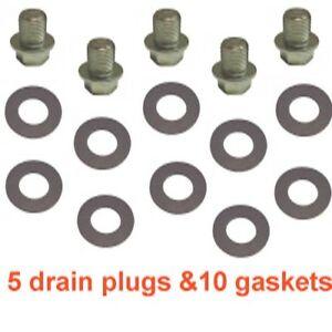 (5) 12mm 1.25 Regular 14mm Hex Zinc Drain Plugs & (10) 12mm Fiber Gaskets