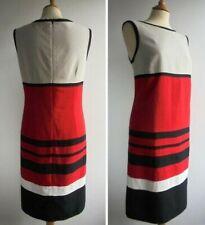 M&S WOMAN Red Black Pencil Dress Flax Linen Size 14