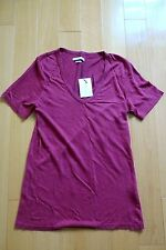 Isabel Marant Etoile Granger V-Neck Linen Tee, Raspberry Red Size 38 Medium