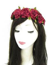 Blood Red Rose Flower Headband Hair Crown Sugar Skull Garland Halloween Boho 825