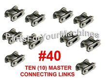 10 Master Connecting Links, #40 For Roller Chain #40, Mini Bikes, Go-Karts