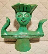 "Vintage Rare Chalkware Green Statue / 10"""