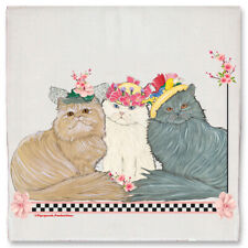 Cat Persian Cats with Bonnets Floral Kitchen Dish Towel Pet Gift