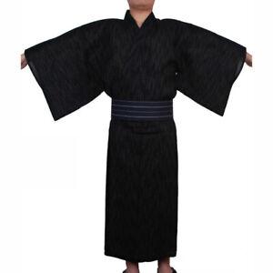 2020 Men's Japanese Samurai Kimono Home Wear Loose Cotton Black Yukata