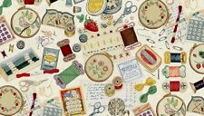 Haberdashery Sewing Items Cream cotton fabric Makower 55 x 50cm larger available