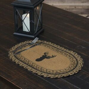 """VHC Brands Rustic 12""""x18"""" Deer Placemat Set of 6 Tan Trophy Kitchen Table Decor"""
