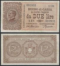 1920 Lire 2 di V.Emanuele III° 14-03-1920 STP Rif. BC33 Cat. Alfa Euro 250,00