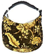 TALBOTS HOBO Shoulder Purse Bag HandbAG FLORAL TAPESTRY STYLE BROWN LEATHER