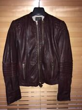 Womens Zadig Voltaire Leather Jacket UK 10-12 Deep Burgundy