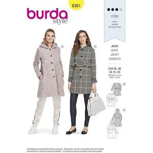Burda 6361 SEWING PATTERN Misses' YOUTH Jacket Hooded High Waist Coat Sizes10-20