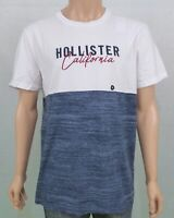 Hollister Mens Colour Block Graphic Tee T-Shirt White Heather Navy XL RRP £19
