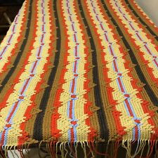 "Handmade Crochet Afghan Blanket 81""x100"" Orange Tan Brown Gold Brown Fringe"