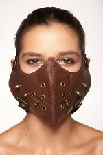 Brown Faux Leather Mouth Face Cover Spikes Rocker Steam Punk Hannibal Mask