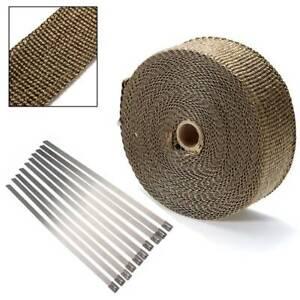 20 Meters Titanium Heat Wrap Roll Exhaust Insulating Downpipe Manifold 10 Ties