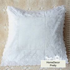 Pretty Rose Embroidery Ribbon Cutwork Lace Jaquard Patch Cotton Cushion Cover B