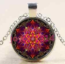 Vintage Mandala Cabochon Tibetan silver Glass Chain Pendant Necklace #2373