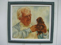 1970s GRANDPA & PUPPY DOG Oil Painting sgnd 'L. PAUL' vintage IRISH SETTER