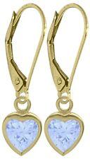 March 1.70 Carat Created Aquamarine Yellow 14K Gold Heart Leverback Earrings
