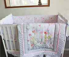 7 Piece Baby Girl Bedding Set Flower Birds Nursery Quilt Bumper Sheet Crib Skirt