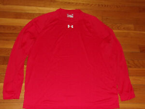 UNDER ARMOUR HEATGEAR LONG SLEEVE RED LOOSE JERSEY MENS LARGE EXCELLENT