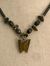 Tiger Eye Butterfly Pendant Beaded necklace