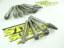 "New listing 11Pc Assorted Carbide Head & Solid Carbide Burrs 1/4"" Shanks"