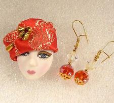 Lady Head woman Face Pin Brooch Porcelain-Look Resin Red Hat Bee hatpin Earrings