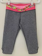 Ivivva By Lululemon Girls 12 Yoga Athletic Capri Pants Gray Pink Accent waist