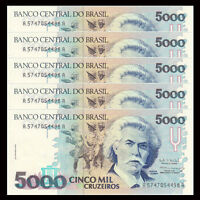 Lot 5 PCS, Brazil 5000 5,000 Cruzeiros, 1993, P-232c, UNC