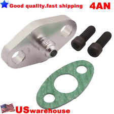 4AN Fitting T3 T4 T35 T04 Turbo Oil Feed Inlet Flange w/ Gasket Adapter Aluminum