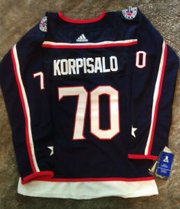 Joonas Korpisalo Columbus Blue Jackets Woman's (L) Adidas Home NHL Hockey Jersey