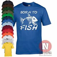 Born to Fish T-shirt angling carp fly sea fishing rod for birthdays fathers day