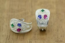 Byzantine Earrings Rubies Emeralds Sapphires 925 Sterling Silver Platinum Plated