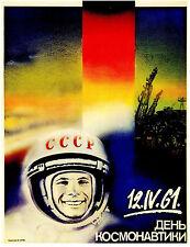 Vintage la propagande russe Poster Espace Soviétique Cosmonaute Rétro Art Imprimé A3