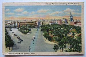 Havana Fraternity Square Bolivar Ave Postcard Cuba Tabaco Stamp 1941
