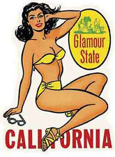 California  Glamour State  Bathing Beauty   Vintage Style   Travel Sticker Decal