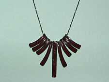 "ART DECO STYLE STUNNING RED BROWN ENAMEL FAN TOOTH PENDANT BLACK CHAIN 16""+"
